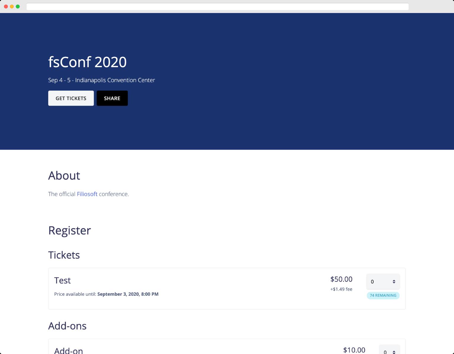 Registration page screenshot