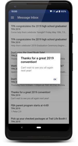 App notifications screenshot