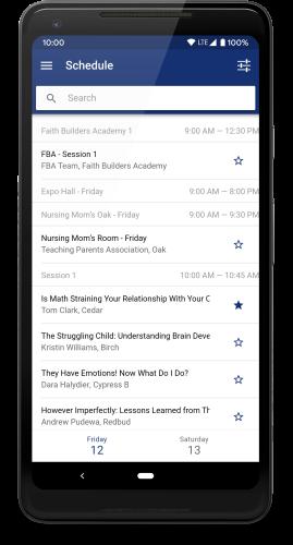 App schedule screenshot